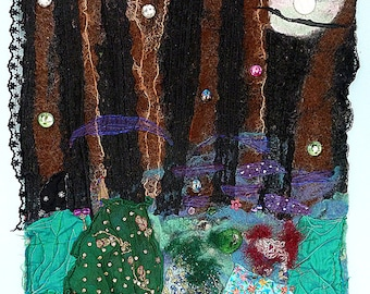 "Mixed Media Art, Felt Fiber, Wall Art, Ink Painted Felt, ""Fae Night"", Quilted Fabric, Home Decor"