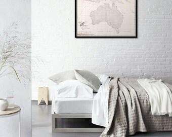 Wall map of Australia, Vintage map, Vintage Australia, Australia map, 1811 - Nouvelle Hollande - Interior map design, Home decor - 123