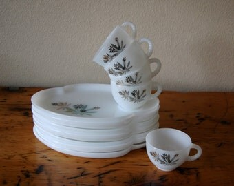 Vintage Federal Milk Glass Floral Snack Set Vintage Mid Century Modern Federal Milk Glass Snack Set from The Eclectic Interior