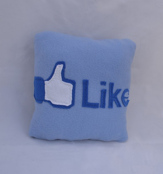 Facebook like Pillow - Decorative Pillows - Handmade Pillow - 12x12 Pillow - Blue Pillow - Geekery Pillow