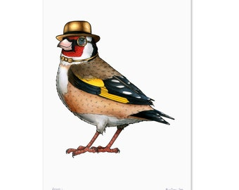 Goldfinch in a Gold Bowler and Bow Tie - A3 Print
