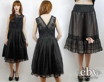 Black Prom Dress 50s Cocktail Dress 50s Party Dress 50s Dress Black Dress 1950s Dress Vintage 50s Sheer Black Party Dress + Slip S M