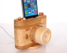 iPhone charging station, iPod touch compatible - wooden photo camera - photo gear - wooden docking station - vintage camera
