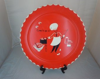 "Vintage 60's  RETRO Bar Be Que TRAY Red Color with ""Come and Get It""  Printed on Front 19"" Round"