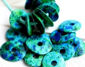 Cornflake beads, Greek Ceramic beads - Ocean Mix Blue Green Teal - donut, spacer, for leather cord, washer, 16mm - 10pc - 2303