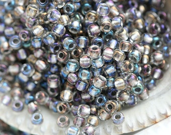 Luster Grey Seed beads, Toho seeds, size 11/0, Inside-Color Gold Luster Crystal/Opaque Grey, N 266 - 10g - S437