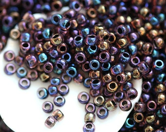 Rainbow purple Seed beads, Toho beads, size 11/0, Inside-Color Luster Lt Amethyst Jet Lined N 251, rocailles - 10g - S532