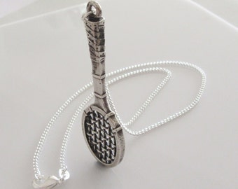 Large SterlingTennis Racquet Necklace