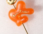 NINA RICCI 90s Brooch 90s Mix Gold Tone And Plastic Pin Brooch Large Long Pin Brooch French Jewellery