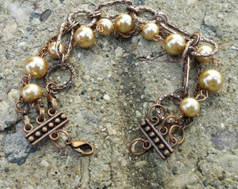 Copper Chain Bracelet with Tan Pearls