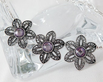 Silver Filigree Flowers with Orchid Purple Crystals - Statement Necklace - Summer - Gifts Under 30