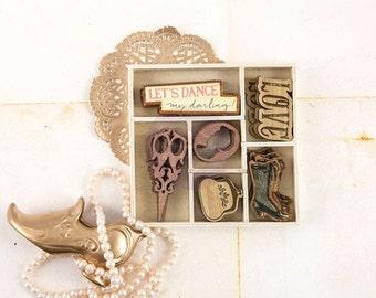 Prima Debutante Collection Wood Icons In A Box Prima New Release Scrapbook Embellishment