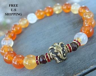 Elephant bracelet, Amethyst, Amazonite, Elephant, Yoga bracelet, Energy bracelet, wrist mala, Reiki charged, Courage, wisdom Mala, healing