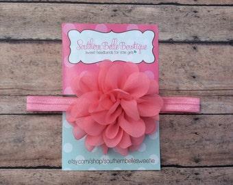 Baby headband, infant headband, newborn headband - CORAL PINK chiffon petal flower headband