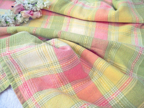 Vintage Plaid Tablecloth Pastel Pink Yellow Green Cotton
