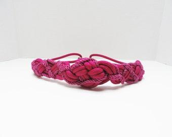 Vintage Belt 70s 80s Fuchsia Hot Pink Braided Rope Belt Modern Medium to Large