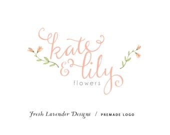 Custom Logo Personalized Premade Logo Design & Watermark for Photographers and Small Businesses Hand Written text with Watercolor Flowers