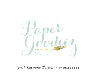 Custom Logo Designs Premade Logo and Watermark for Photographers  and Crafty Boutiques Hand Drawn Feather with Script Font Shabby Chic
