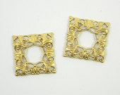 Square Filigree, Raw Brass Filigree, Cabochon Wrap, Filigree Connector, Brass Finding, 20mm - 4 pcs. (r121)