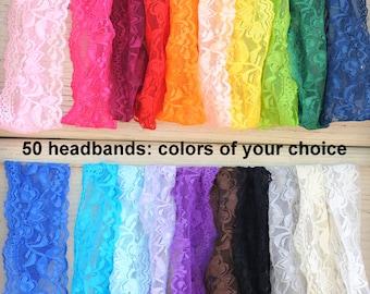 "Elastic Lace Headbands - Set of 50 - Wholesale Baby Headbands - Elastic Lace - 2"" Stretch Lace Headbands - Elastic Lace Baby Headbands"