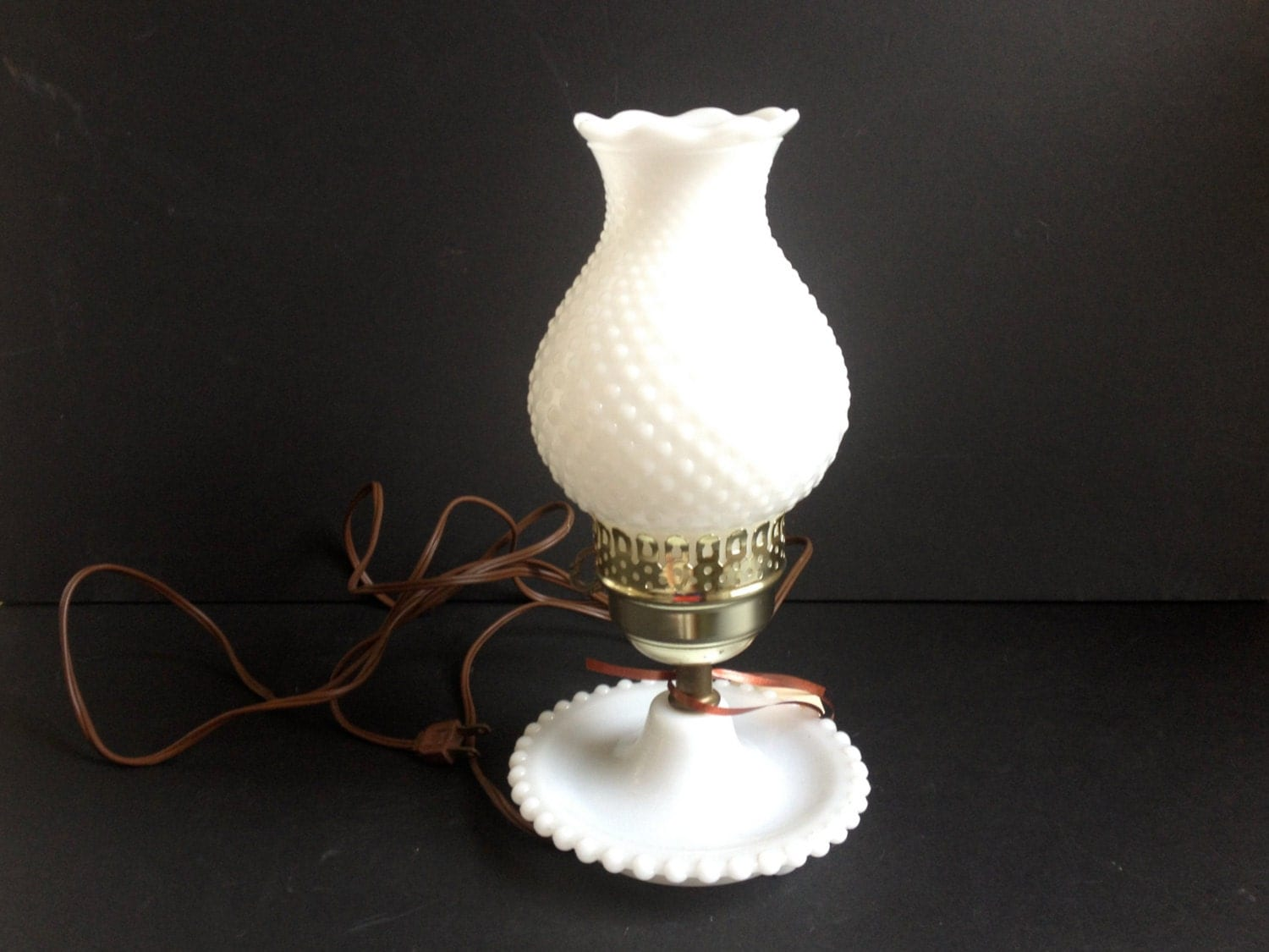 Hobnail Milk Glass Table Lamp By 1006Osage On Etsy