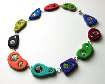 Polymer clay necklace, handmade necklace, polymer clay jewelry, OOAK necklace, colorful necklace, DIY jewelry, handmade jewelry, handmade