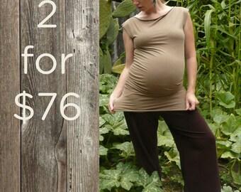 Two-Pack - Organic Tunic, Maternity Shirt, Mini-dress, Soy and Bamboo Fiber, Eco-fashion