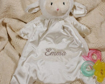 Embroidered Cuddle Bud Soft Lamb Blanket Personalized Baby Boy or Girl Personalized Gift