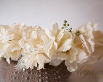 Ivory n Cream Floral headwreath head halo in creams & touch of greens tulle pearls romantic headband for weddings, photos shoots, studios