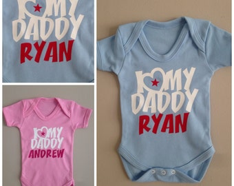 Personalised I LOVE my Daddy baby vest/onezie babygrow.  Personalized with any name. Available in pink or blue