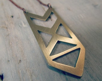 Geometric Arrow Pendant - Brass Arrow Jewelry