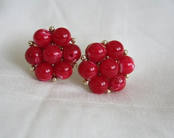 Lisner Red Beaded Earrings