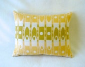 "Pillow comes with 14"" x 18"" Insert, Yellow, Green and Cream, Ikat Print Accent Decorative Fabrics"