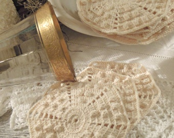 Ten Vintage / Antique Hand Crocheted / Cotton Coasters / Popcorn Stitch