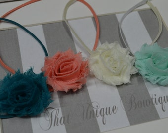 Petite Shabby Chic Rosette Headbands...Set of Four Petite Headbands...Flower Headbands...Baby Girl Headbands...Ivory Mint Teal Coral