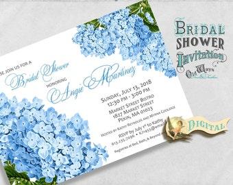 Printable Blue Hydrangea Bridal Shower Invitation - Cottage Chic Vintage Flowers - Custom Floral Invite DIY 5x7 or 4x6  Digital File