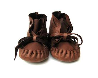 Baby Moccasins, Deerskin  Soft soled Kids Shoes,Totmocs, Mahogany, Small, 4-9 months