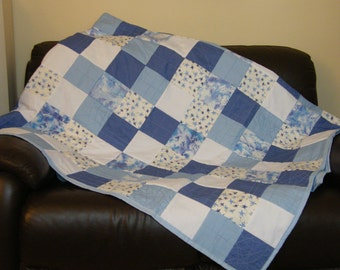 Handmade patchwork quilt,bed throw, Double,hand dyed fabric, blues,white broidre anglais,stars.random design, unique one off piece.