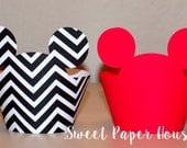24 Mickey Mouse Cupcake Wrappers (Red, Black Chevron) (Cardstock, Disney, Cartoon, Minnie and Mickey, Mickey Ears, Bday, Baby Shower, Boy)