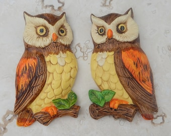 Lefton Owl Wall Hangings  --  Lefton Owl Wall Plaques  --  Lefton Ceramic Owl Wall Decor  --  Lefton Owl Plaques Numbered 382