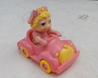 Baby Miss Piggy in Pink Car 1986 McDonalds Happy Meal Toy