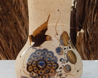 Hand Painted Vase from Mexico  --  Mexican Vase  --  Earthenware Vase from Mexico  --  Artist Signed Vase
