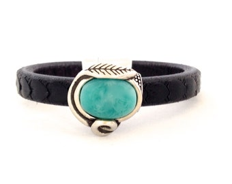 Leather Bracelet - Leather Cuff - Bracelet for Women - Bead Bracelet - Gift for Her - Boho Style - Turquoise Color - Leather Cuff Bracelet