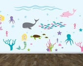 Wall decal - Nursery decal - under water - Ocean decal - Mermaid decal - vinyl wall decal - Dolphin - Whale - Fish - Coral - Turtle