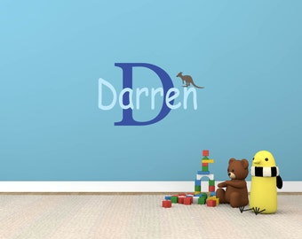 Kids decals - initial decal - monogram - name decals - Kangaroo - vinyl wall decal - wall decals - Nursery decal - child's name decal - baby