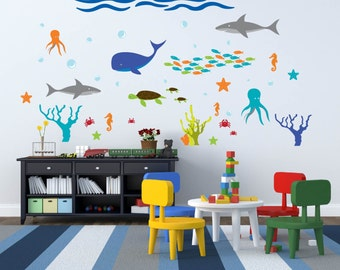 Wall decal - Nursery decal - under water - Ocean decal - shark decal - vinyl wall decal - starfish - Whale - Fish - Coral - Turtle
