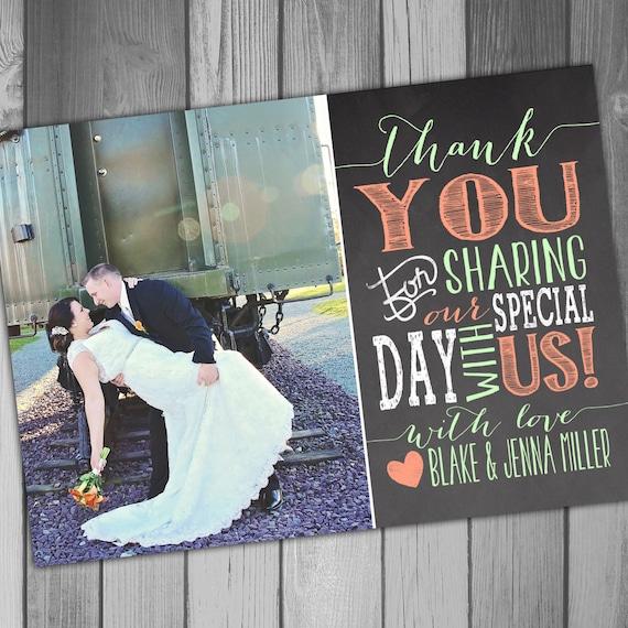 Thank You Card Wedding Thank You Card Photo Thank You Card Chalkboard Thank You Card Thank You Photo Card Printable Thank You