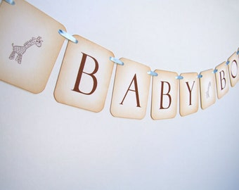 Giraffe Bunting, Giraffe Banner, Giraffe Baby Shower Decoration, Giraffe Baby Boy Bunting, Giraffe Garland, Photo Prop, 005-B