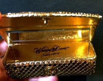 Vintage Whiting & Davis Gold Mesh Lipstick Case with Mirror