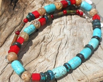 Handmade Necklace OOAK, Howlite Stone, Natural Turquoise Stone, Bamboo Coral, Carved Soap Stone, Green Turquoise